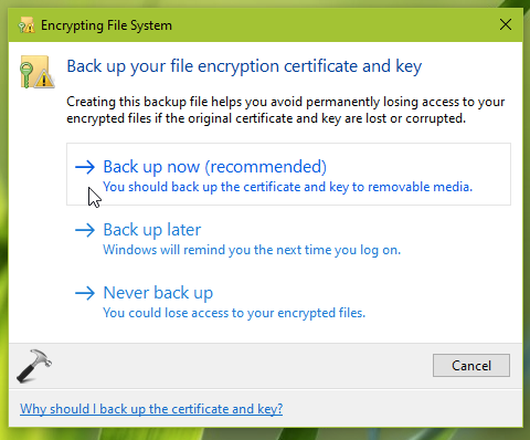 How To Backup Your File Encryption Key In Windows 10