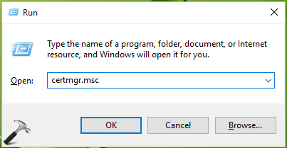 CERTIFICATE MANAGER Windows 10