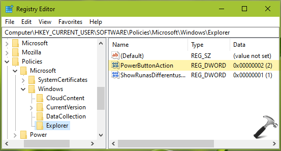 Change Default Setting For Shut Down Windows Dialog