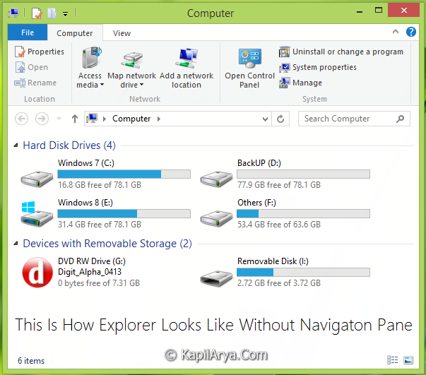 Disable Detail Preview Navigation Pane Windows 8 3