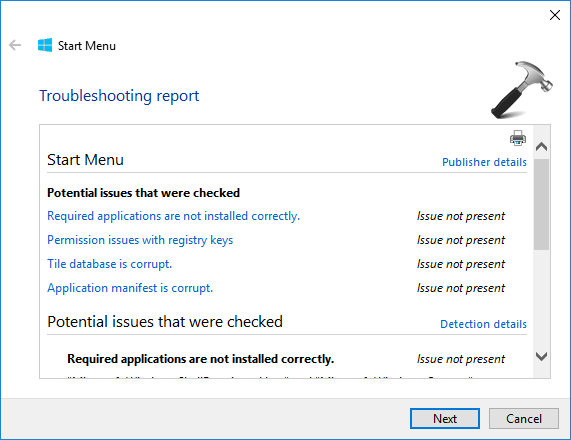 Download Start Menu Troubleshooter For Windows 10