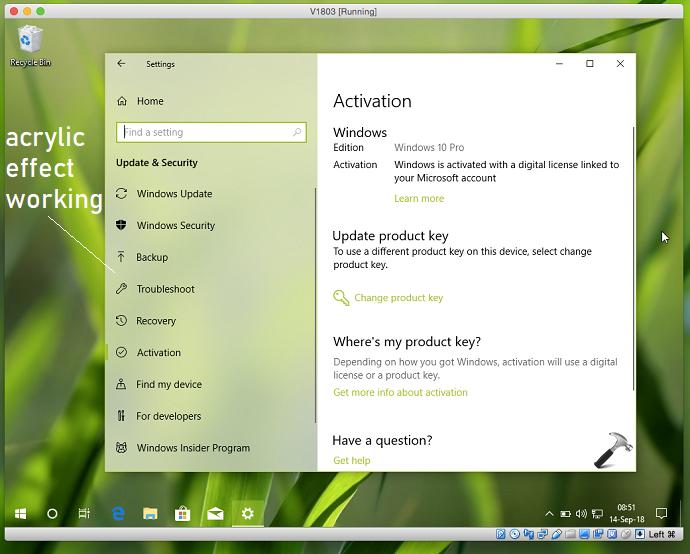FIX Acrylic Effects Not Working On Windows 10 Virtual Installation