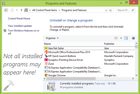 FIX All Installed Software Not Listed In Uninstall Or Change A Program Window