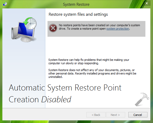 System Restore Group Policy restrictions - Winhelponline