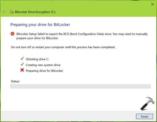 FIX BitLocker Setup Failed To Export The BCD Store Windows 10