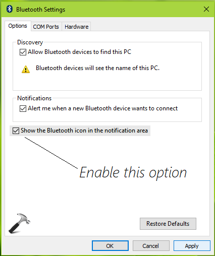 FIX] Bluetooth Icon Missing From Windows 10 Taskbar