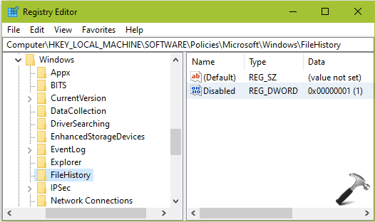 FIX Cannot Turn On File History In Windows 10