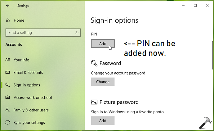 FIX Cant Add Sign-in PIN For Windows 10