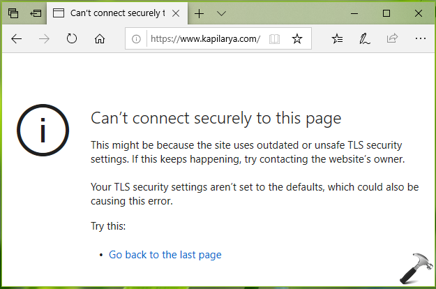 FIX Can't Connect Securely To This Page Error In Microsoft Edge