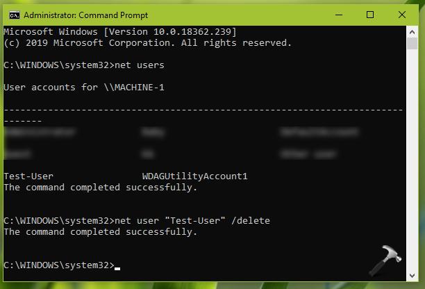 Can't Delete User Account In Windows 10