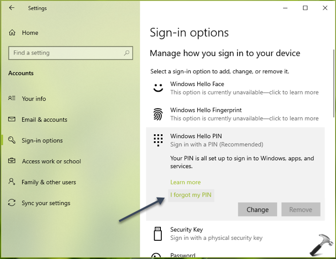 FIX Can't Remove Windows Hello PIN In Windows 10