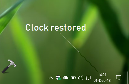 FIX Clock Disappeared From Windows 10 Taskbar