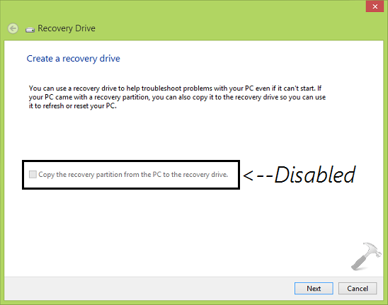win 8.1 create recovery partition