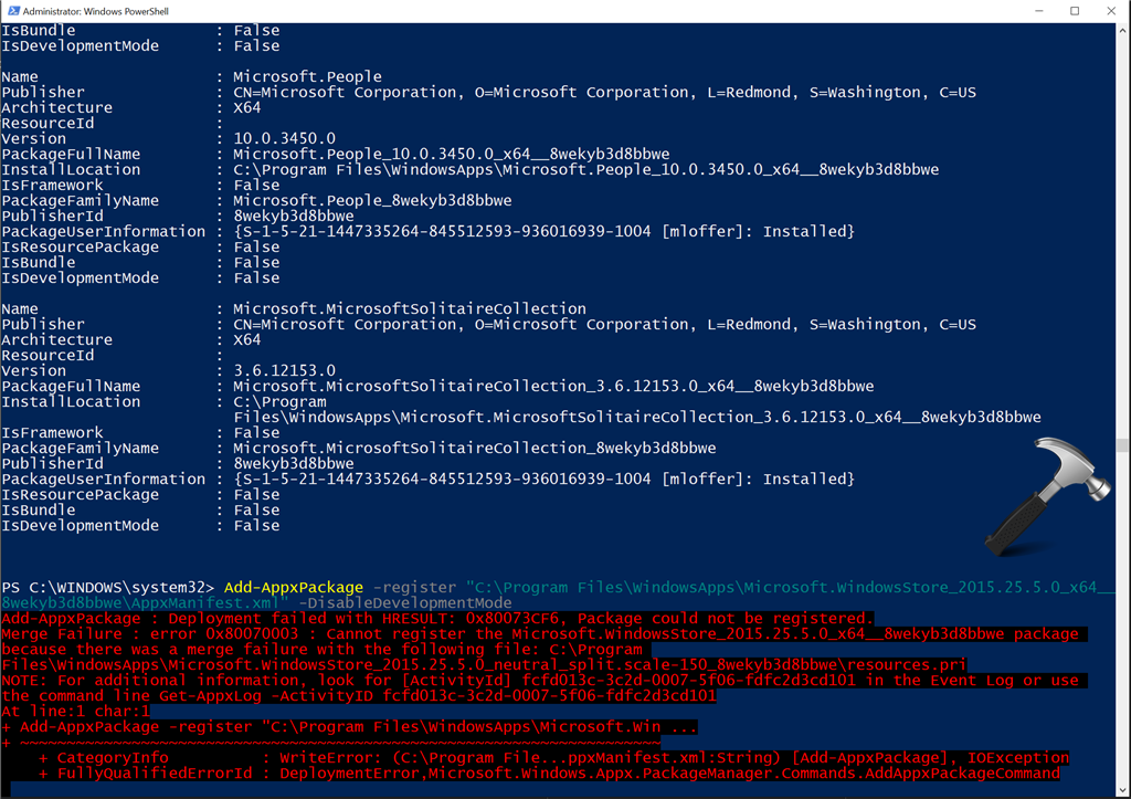 FIX - Deployment Failed With HRESULT: 0x80073CF6, Package Could Not Be Registered. Merge Failure : Error 0x80070003