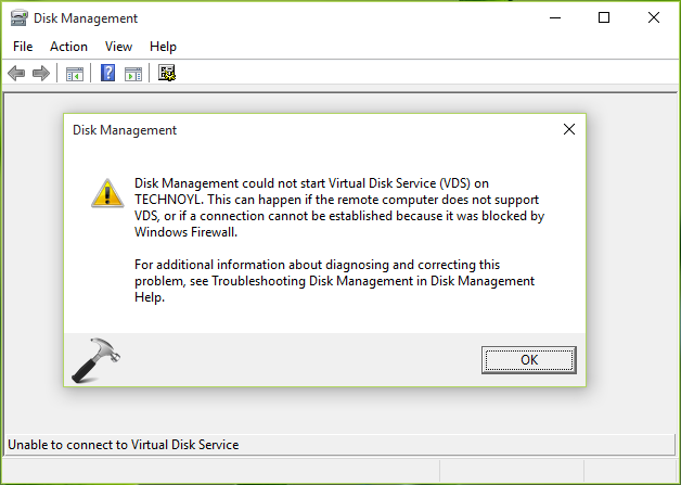 FIX - Disk Management Could Not Start Virtual Disk Service On Windows 10