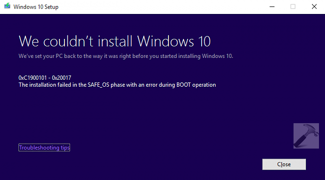 FIX Error 0xC1900101 - 0x20017 - We Could Not Install Windows 10