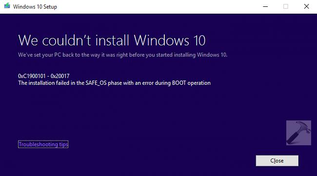 FIX Error 0xC1900101 - 0x20017 - We Could Not Install Windows 10