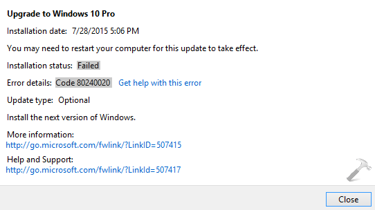FIX Error 80240020 While Installing Windows 10