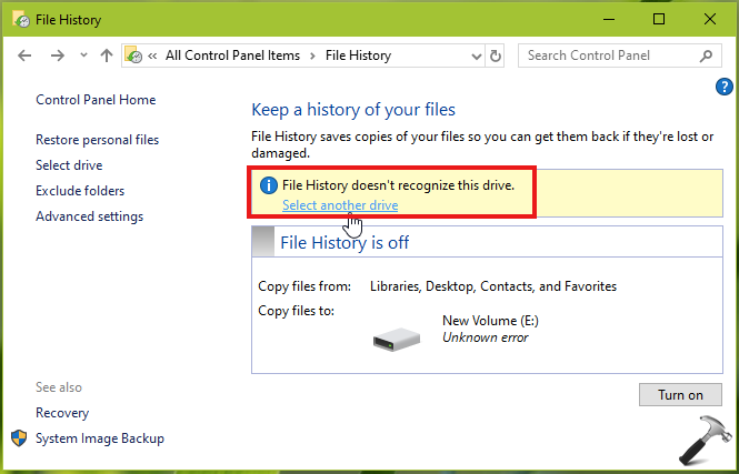 FIX File History Does Not Recognize This Drive