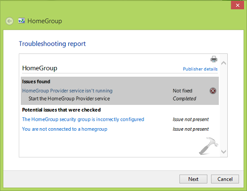 FIX HomeGroup Provider Service Is Not Running In Windows 8 Or Later