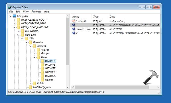 windows registry admin rights