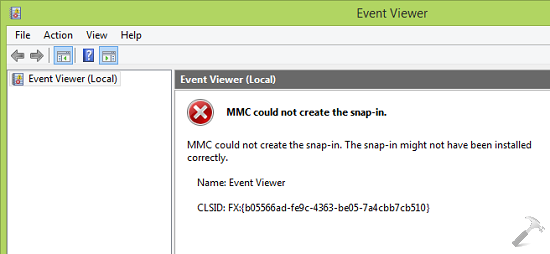 MMC Could Not Create The Snap-in. The Snap-in Might Not Have Been Installed Correctly For Event Viewer