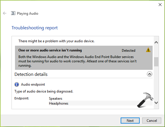 One Or More Audio Service Isn't Running In Windows 10