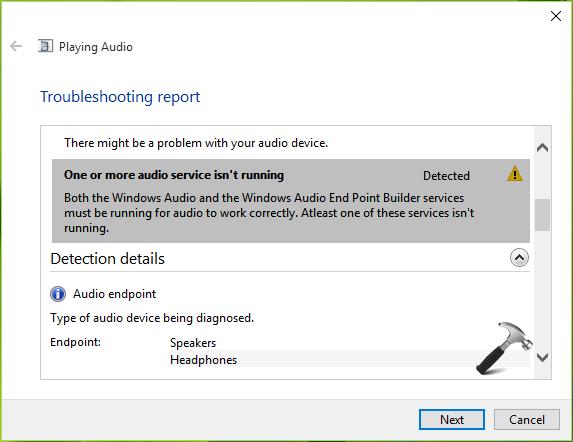 window 10 audio problem