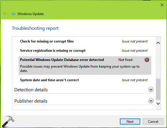 FIX 'Potential Windows Update Database Error' In Windows 10
