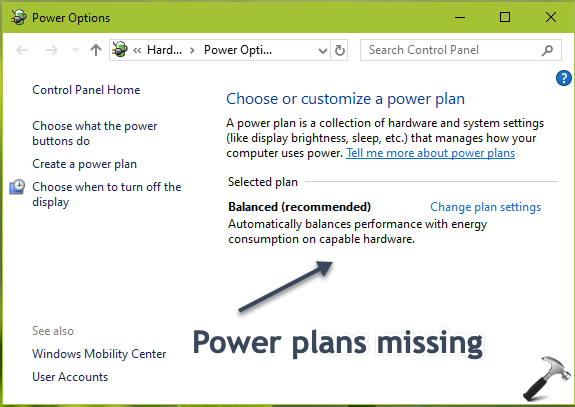 FIX Power Plans Missing In Windows 10