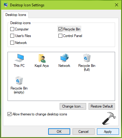 FIX Recycle Bin Icon Missing From Windows 10 Desktop
