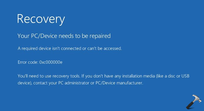 A Required Device Isn't Connected Or Can't Be Accessed (0xc000000e) In Windows 10