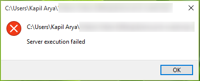 FIX - Server Execution Failed Error In Windows 10