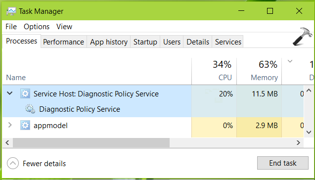 FIX Service Host Diagnostic Policy Service High CPU Usage In Windows 10