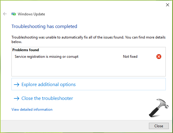 FIX - Service Registration Missing Or Corrupt In Windows 10