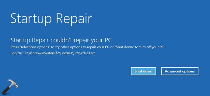 FIX Automatic/Startup Repair Couldn't Repair Your PC On Windows 10