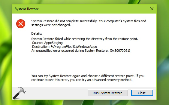 FIX] System Restore Failed While Restoring The Directory