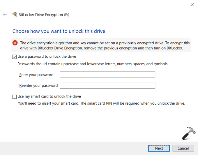 FIX The Drive Encryption Algorithm And Key Cannot Be Set On Previously Encrypted Drive