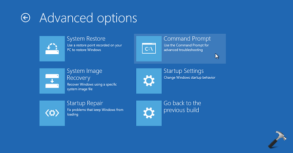 Advanced Recovery Options Windows 10