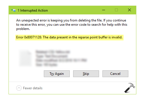 FIX The Data Present In The Reparse Point Buffer Is Invalid