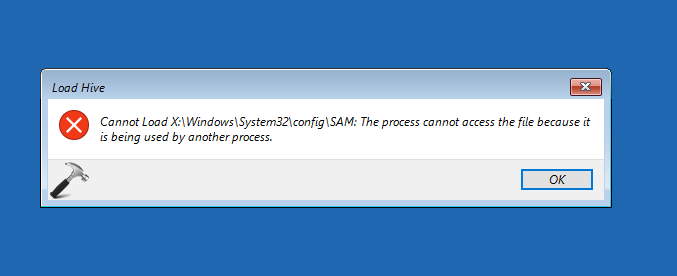 The Process Cannot Access The File Because It Is Being Used By Another Process While Loading Registry Hive