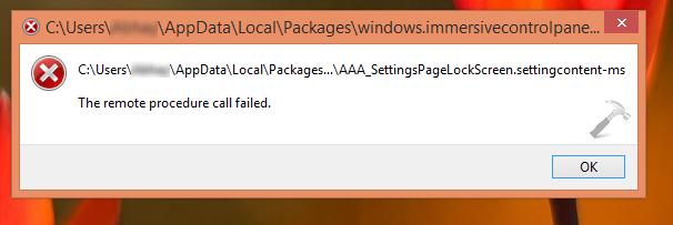 [FIX] The Remote Procedure Call Failed While Setting Lock Screen