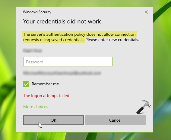 FIX The Server's Authentication Policy Does Not Allow Connection Requests Using Saved Credentials