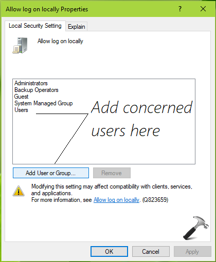 FIX The User Has Not Been Granted The Requested Logon Type At This Computer In Windows 10