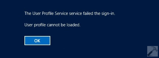 The User Profile Service Failed The Sign-in. User Profile Cannot Be Loaded.