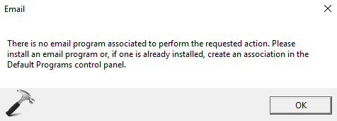 There Is No Email Program Associated To Perform The Requested Action In Windows 10