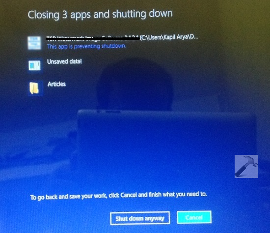 [FIX] This App Is Preventing Shutdown In Windows 8 Or Later