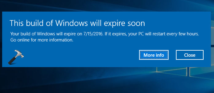 FIX - This Build Of Windows Will Expire Soon In Windows 10