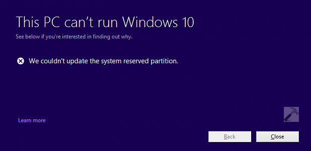 Couldnt update system reserved partition windows 10