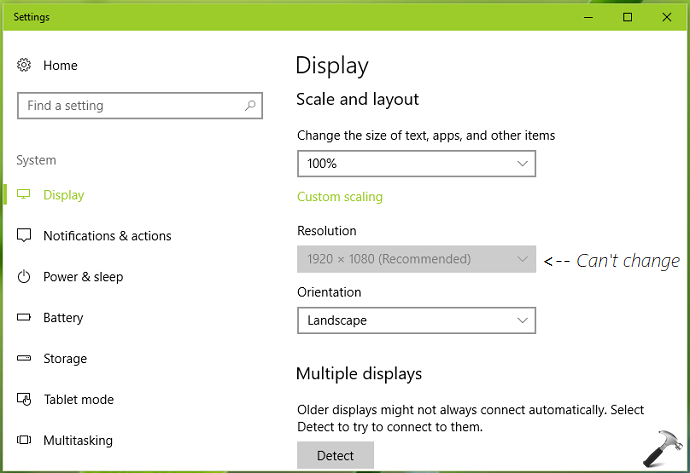 FIX Unable To Change Screen Resolution In Windows 10